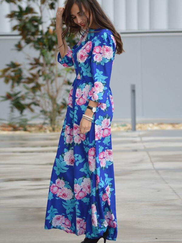 29617ae97a0 Multicolour Round Neck Long Sleeve Hibiscus Perfect Floral Maxi Dress |  SHEIN UK
