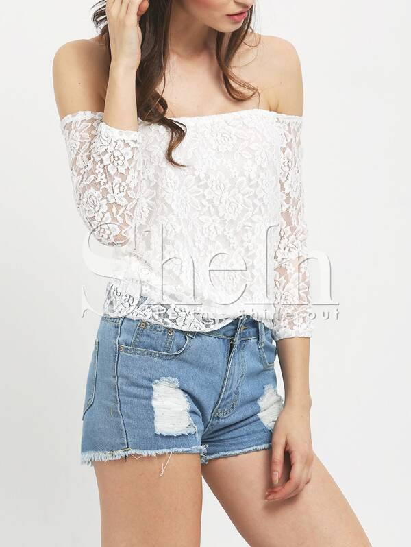 41ca194df58 White Off The Shoulder Lace Blouse | SHEIN