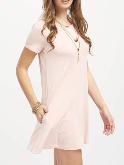 Pink Short Sleeve Pockets Loose Dress -SheIn(Sheinside)