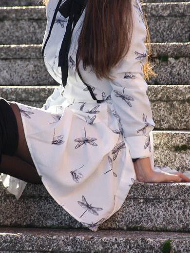 White Long Sleeve Dragonfly Print Dress