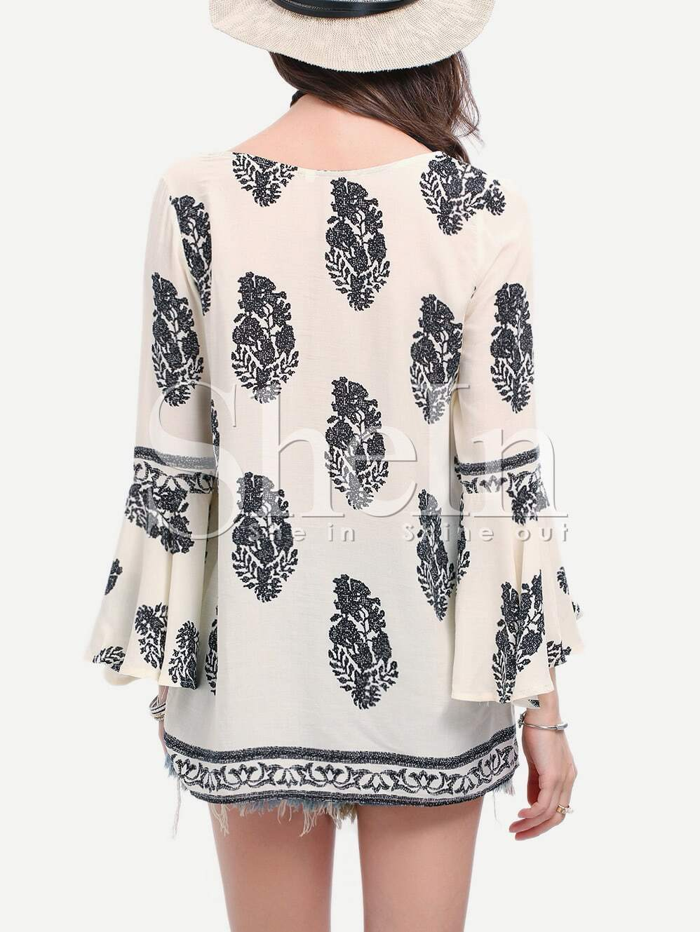 Black White Print Bell Sleeve Lace Up Blouse
