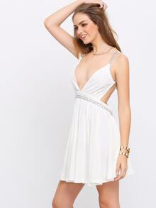 0589a7e413 White Deep V Neck Metal Chain Backless Dress