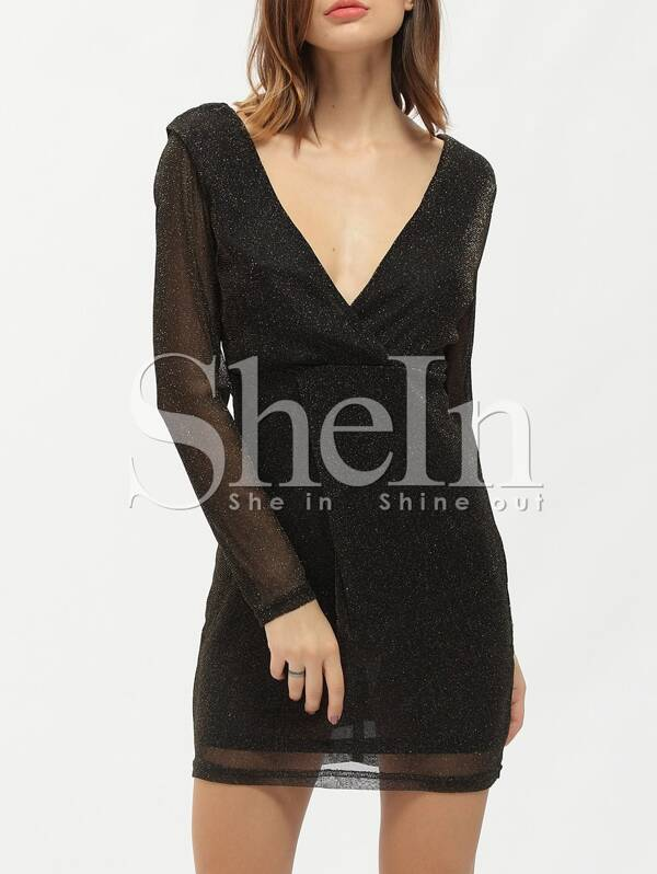 44e5aed6e4bf Black Long Sleeve Deep V Neck Bodycon Dress