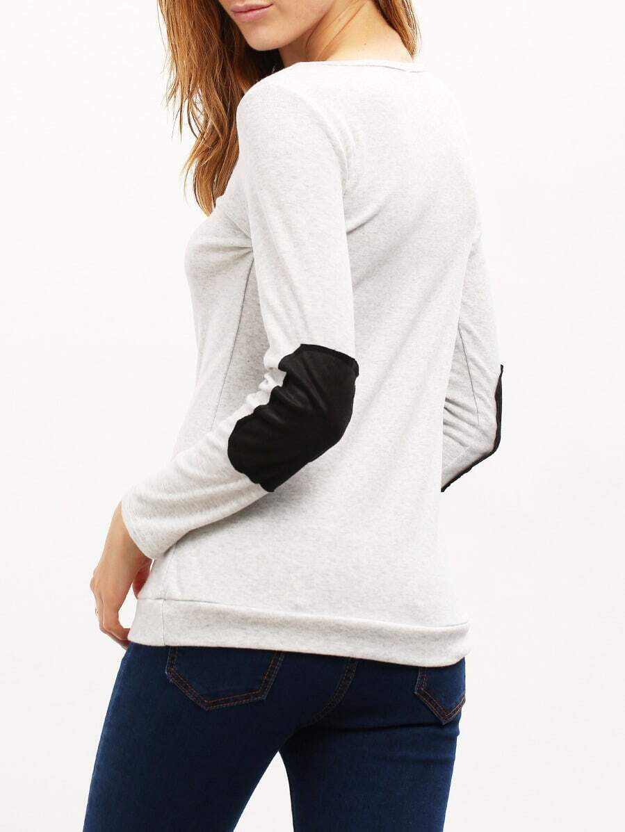 Grey long sleeve scoop neck t shirt shein sheinside for Long sleeve scoop neck shirt