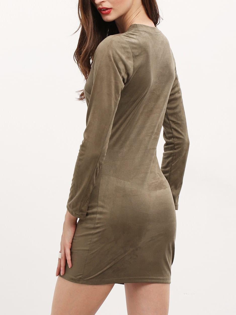 Sleeve Dresses Crew Plain Neck Bell Bodycon history trendy
