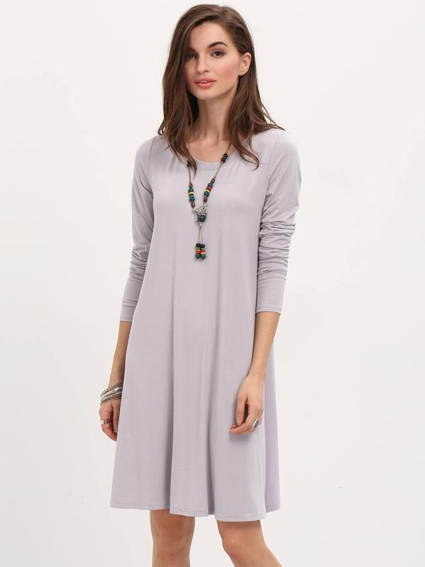 precios de remate proveedor oficial 100% genuino Vestido manga larga casual -gris