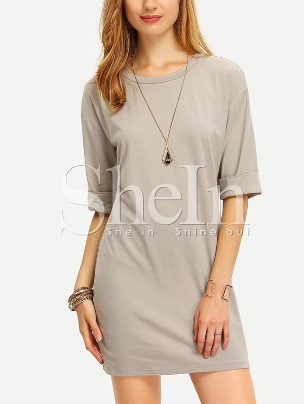 167285c296 Grey Round Neck Inch Half Sleeve Loose Dress   SHEIN