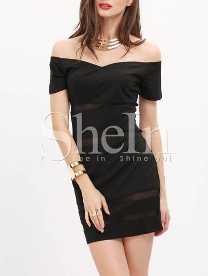 395abbbf74cb0 فستان ضيق أسود قبالة الكتف كم قصير