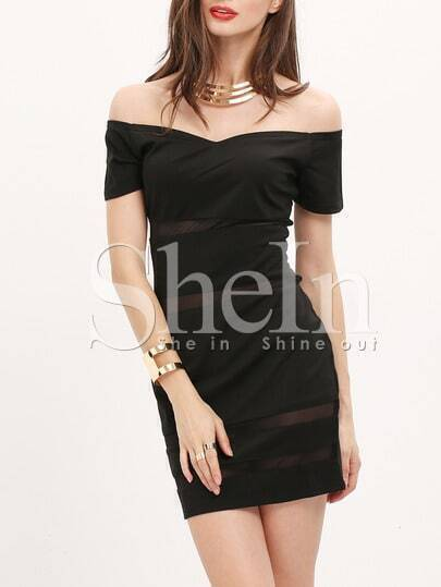 Black Short Sleeve Off The Shoulder Bodycon Dress pictures