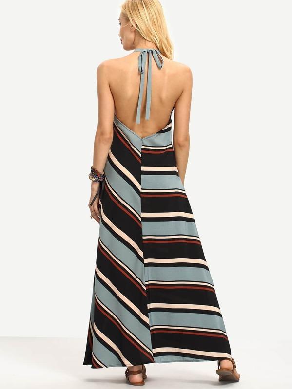 acee248299 Multicolor Stripe V Neck Halter Neck Maxi Dress | SHEIN