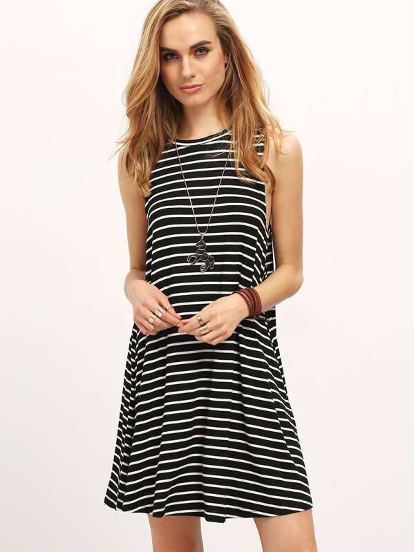 99e49e7be8 Vestido rayas sin mangas-blanco y negro