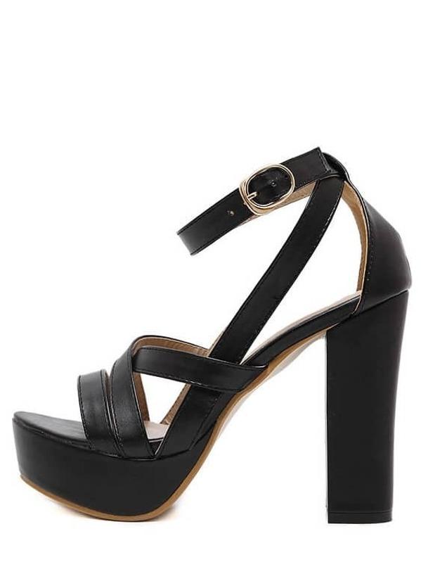 Toe Chunky Sandals Black Platform Peep QdCxWrBoe