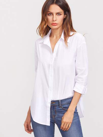 3bb109a91ae Deep-Plunge Neck Curved Hem Blouse