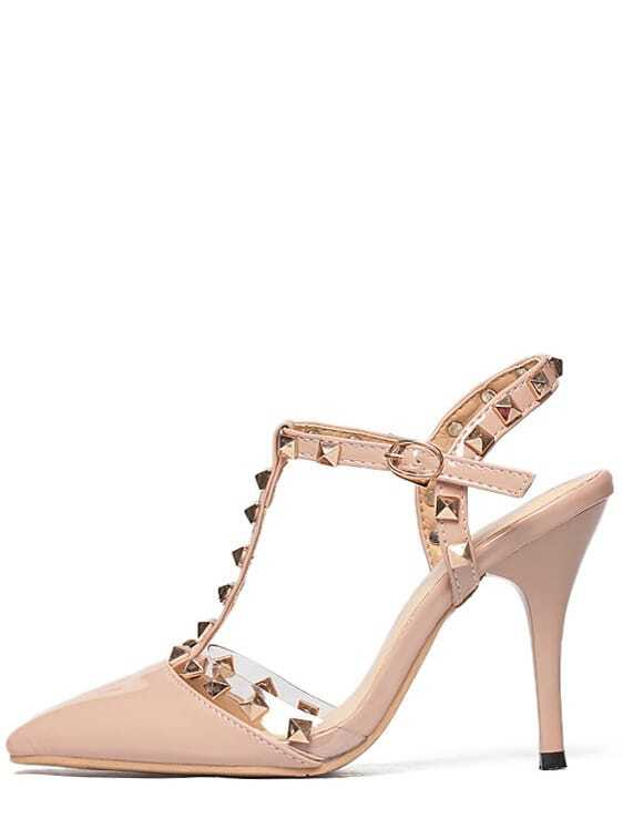 8c328b20ef Cheap Nude Pierced T-strap Studded High Heels for sale Australia | SHEIN