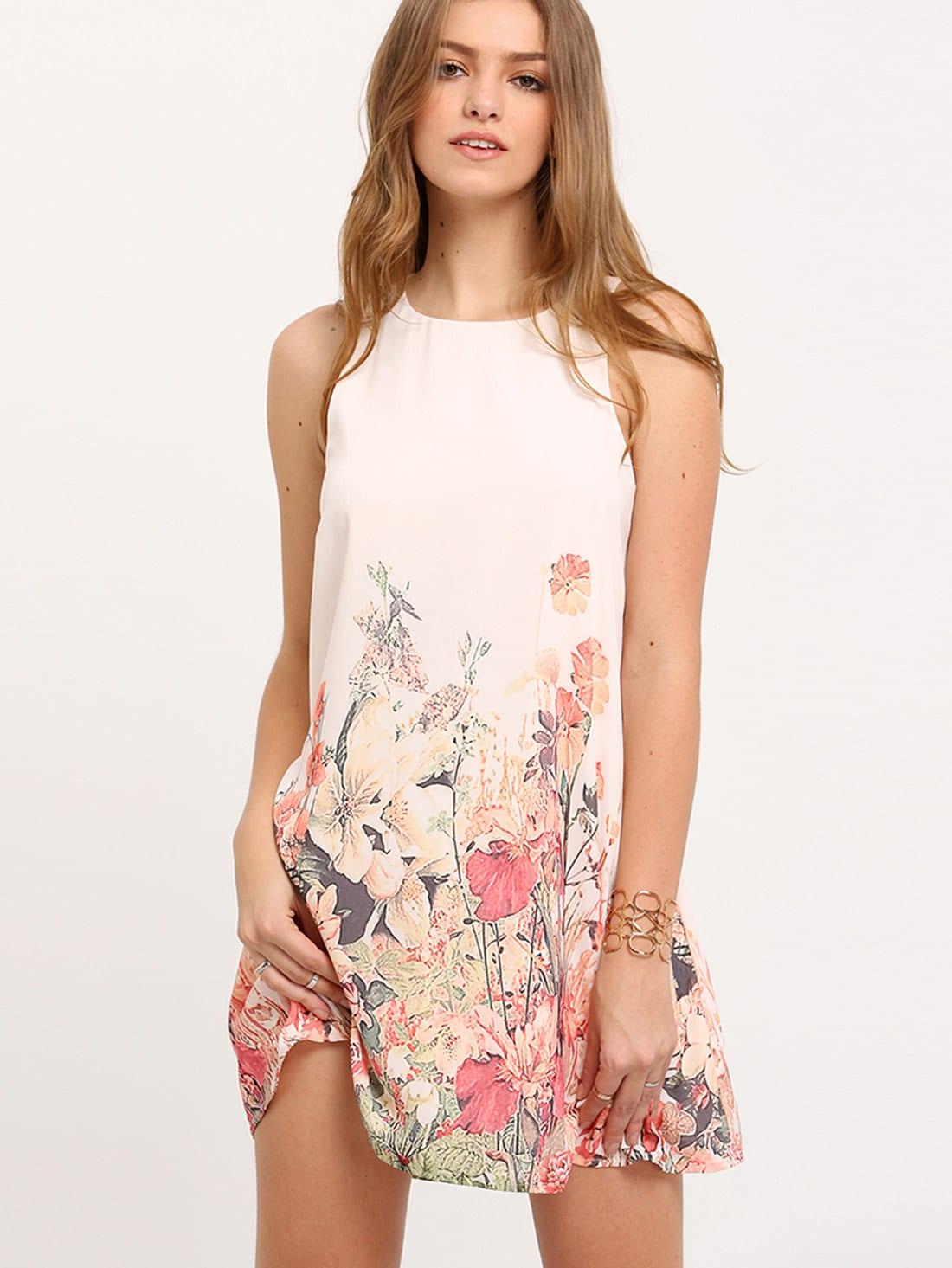Floral Print Keyhole Back Tank Dress