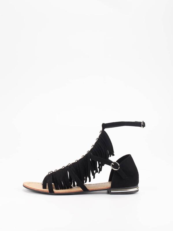 07add0b565ee21 Faux Suede Caged Fringe Sandals - Black -SheIn(Sheinside)