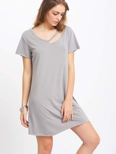Grey Short Sleeve Hollow T-shirt Dress pictures