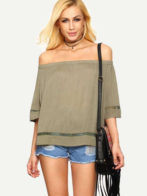 f0c820028417c Light Army Green Off The Shoulder Blouse