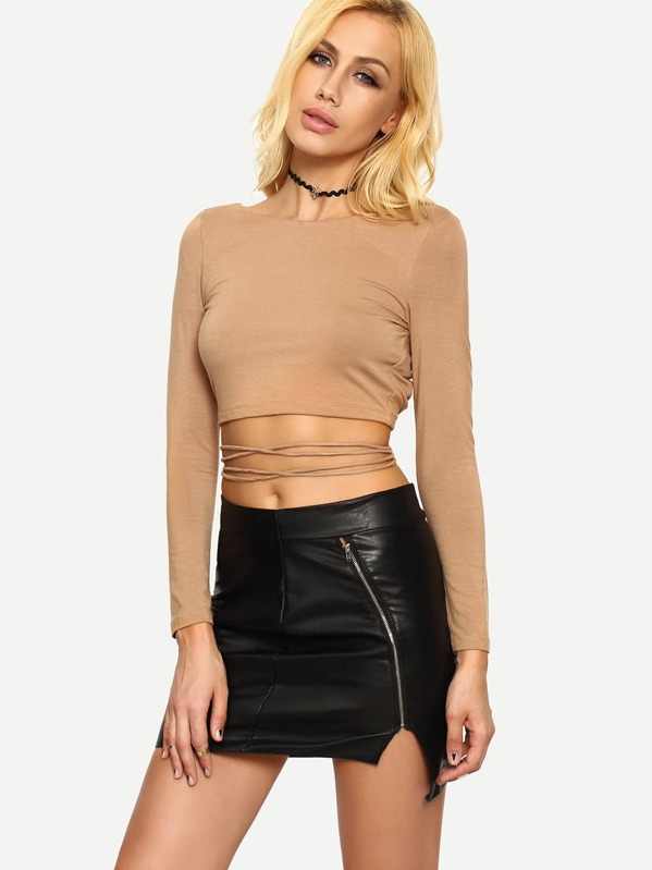 29789333172 Dark Nude Long Sleeve Crisscross Crop T-shirt