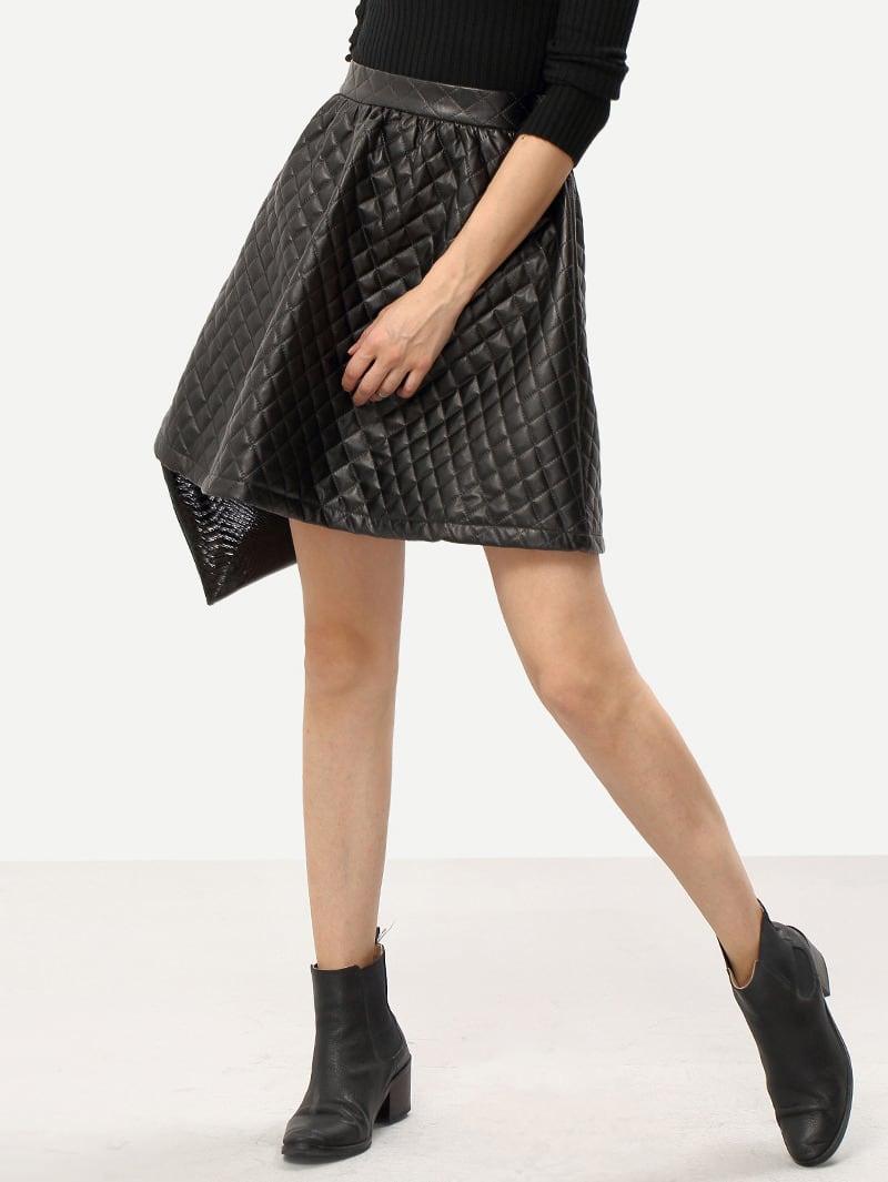black pu leather flare skirt shein sheinside