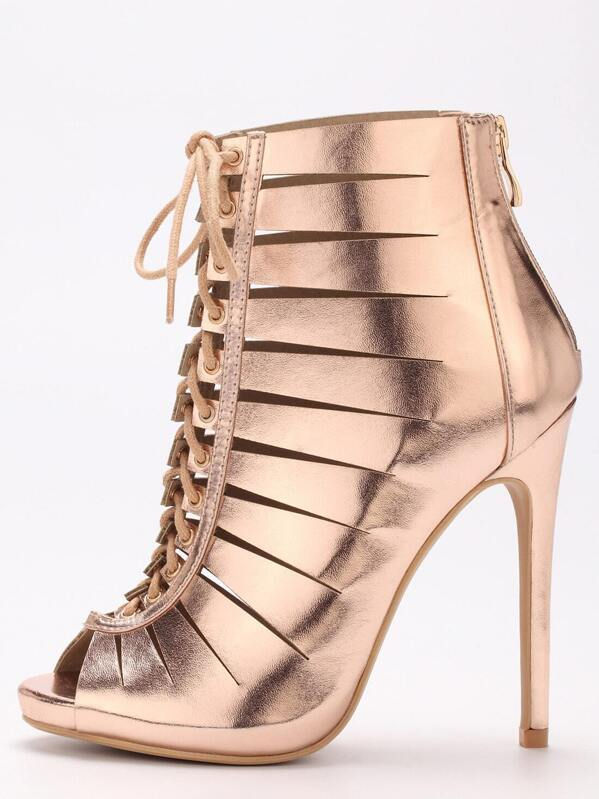 db6acd006b8c Rose Gold Peep Toe Zipper Lace Up Stiletto Heels