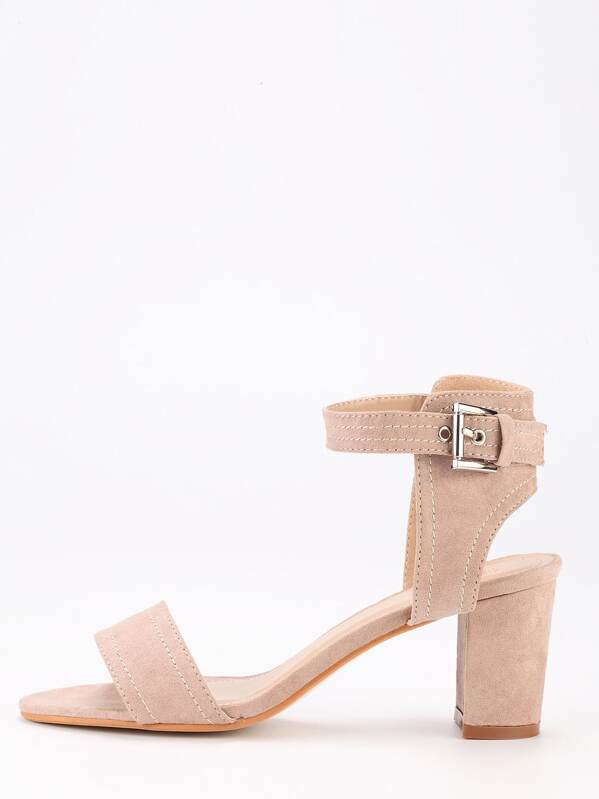 9b3e29cf6c362 Nude Faux Suede Block Heel Ankle Strap Sandals | SHEIN UK