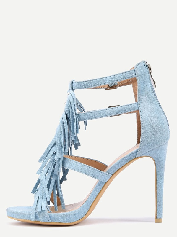 b5559a736a Faux Suede Strappy Fringe Heeled Sandals - Light Blue | SHEIN