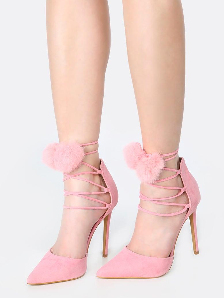 Pointy Toe Lace Up Pom Pom Heels Pink Shein Sheinside