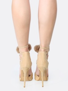 b7815b298a Pom Pom Wrap Up Faux Suede Heels NUDE | SHEIN UK