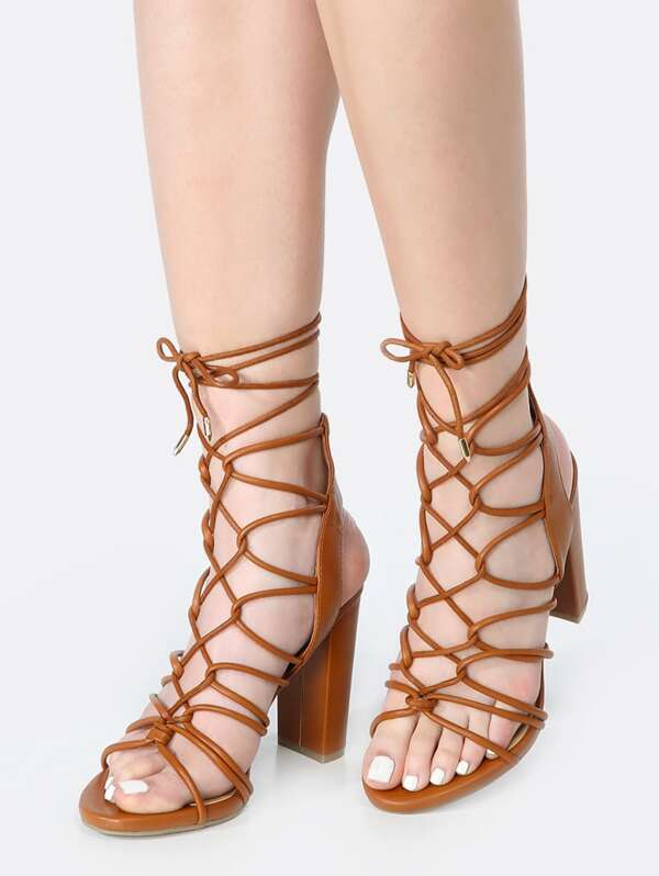 168abe2d6d8 Strappy Open Toe Lace Up Heels WHISKY
