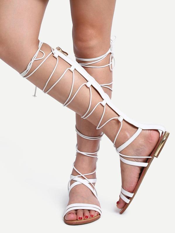 Stile Senza Tacco Stivali Stringe Estivi Bianco Con Gladiatore 9DWI2EH