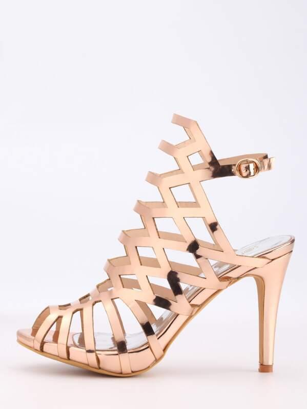 0b3ea29ade3a Escarpins sandales bout ouvert tendance - rose doré   SHEIN