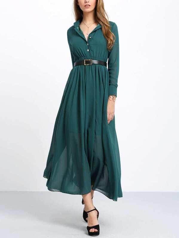 Boutons Longue Vert Manches Longues Avec Robe FcJTKl1