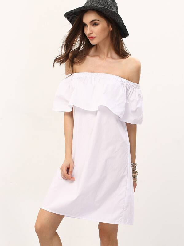 7744d7867020 White Off The Shoulder Ruffle Shift Dress