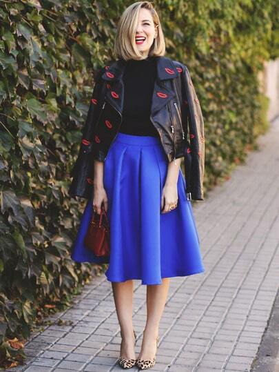 Blue Flare Pleated Midi Skirt -SheIn(Sheinside)