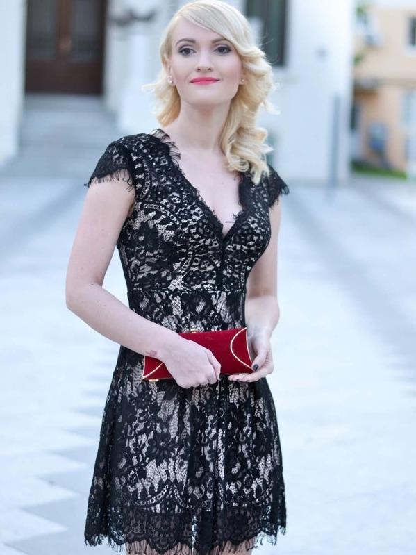 Black Cap Sleeve Lace Dress Sheinsheinside