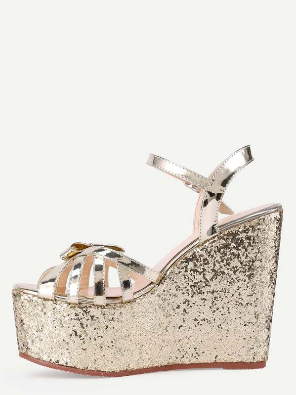 773b82fa42ae38 Gold Bow-tie Open Toe Wedge Sandals -SheIn(Sheinside)