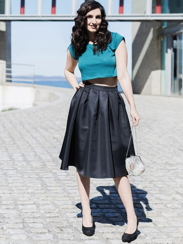 Black Flare Pleated Midi Skirt -SheIn(Sheinside)