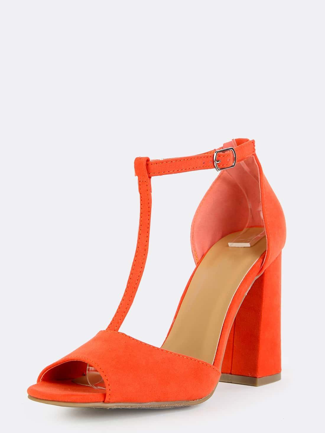 Retro Inspired T-Strap Chunky Heels ORANGE -SheIn(Sheinside)
