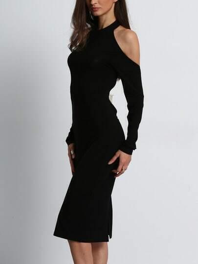 robe noire paule d nud e en dos nu french shein sheinside. Black Bedroom Furniture Sets. Home Design Ideas