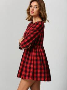 Red Black Round Neck Plaid Dress pictures
