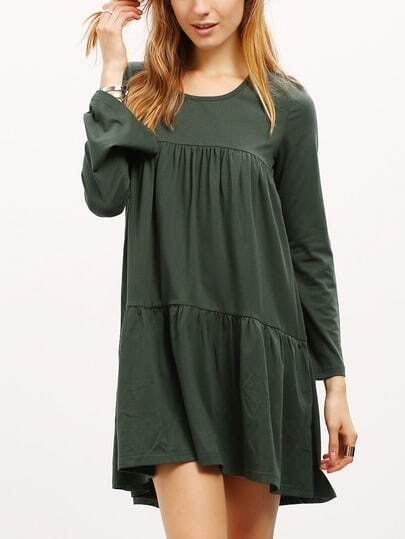 Round Neck Pleated Babydoll Dress