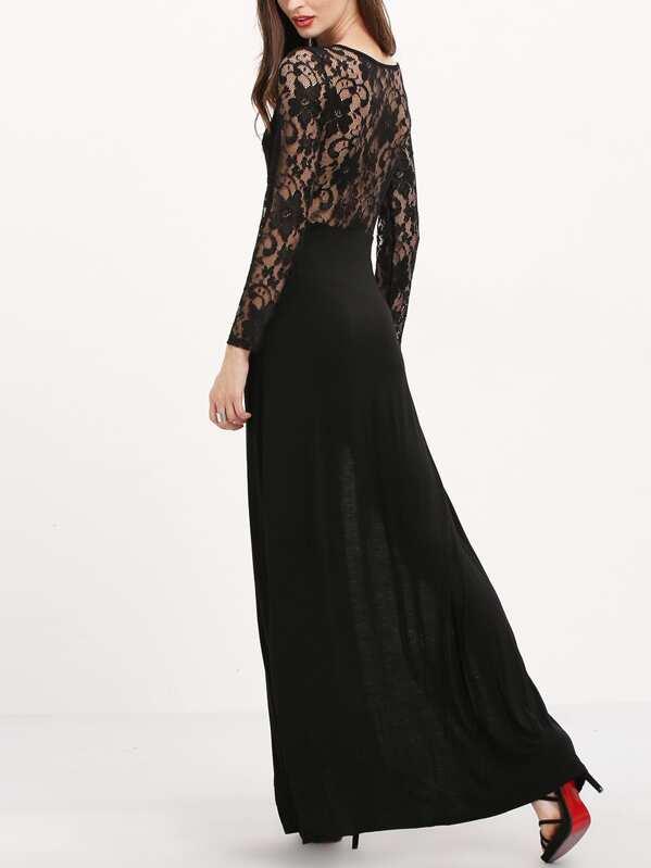 b7974f98201 Robe longue fendue manches longues avec dentelle -noir