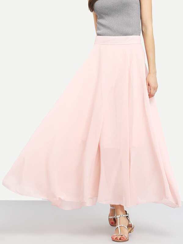 rosa Falda de larga acampanada gasa IW9H2YDE