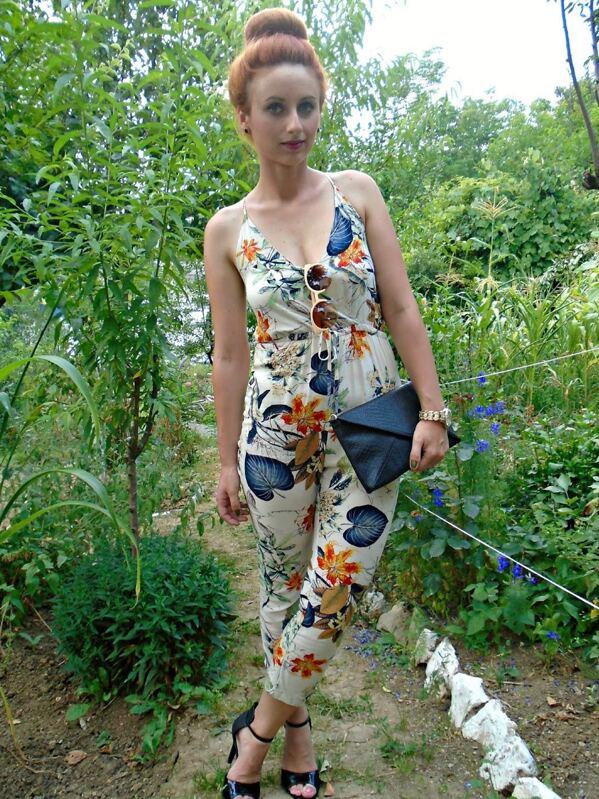 bce6d685fceb White Spaghetti Strap Leaves Print Slim Jumpsuit