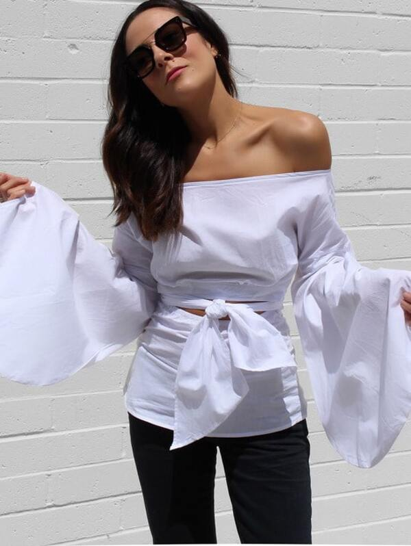 4e21970475a1a White Puff Sleeve Off-the-shoulder Self-tie Front Blouse -SheIn(Sheinside)