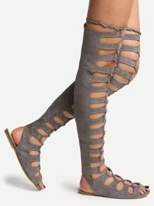 58df7a0c0770 Grey Lace Up Thigh High Gladiator Sandals