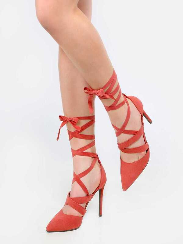 741b585d0c8 Pointed Toe Tie Up Stiletto Heels MAUVE