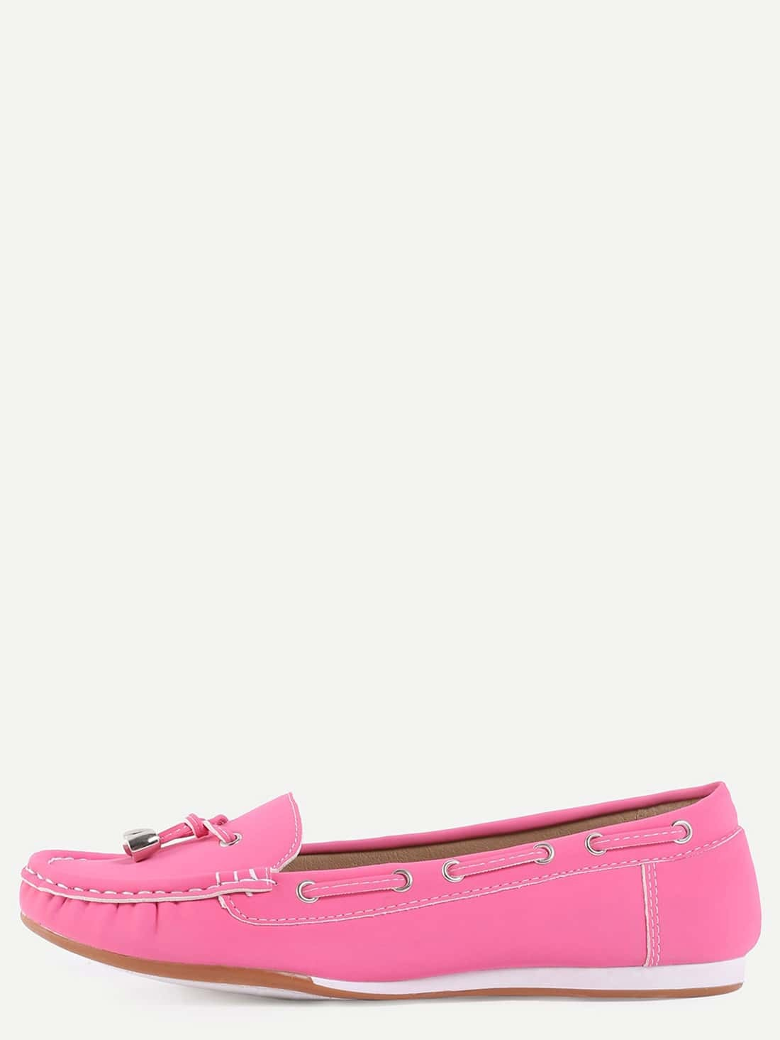 Faux Suede Drawstring Boat Shoes -Hot Pink