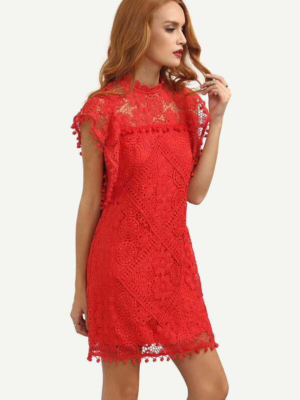 5c16e62b5511 Red Cap Sleeve Pom Pom Trim Hollow Dress